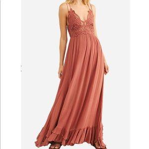 FREE PEOPLE Adella Maxi Slip Dress Copper S NWT